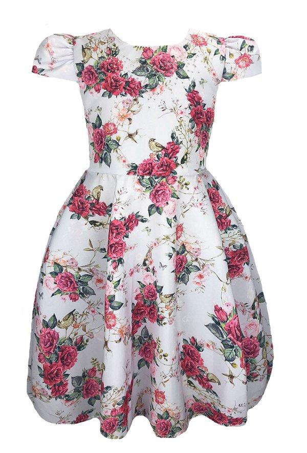Vestido Infantil estampado com peito de strass