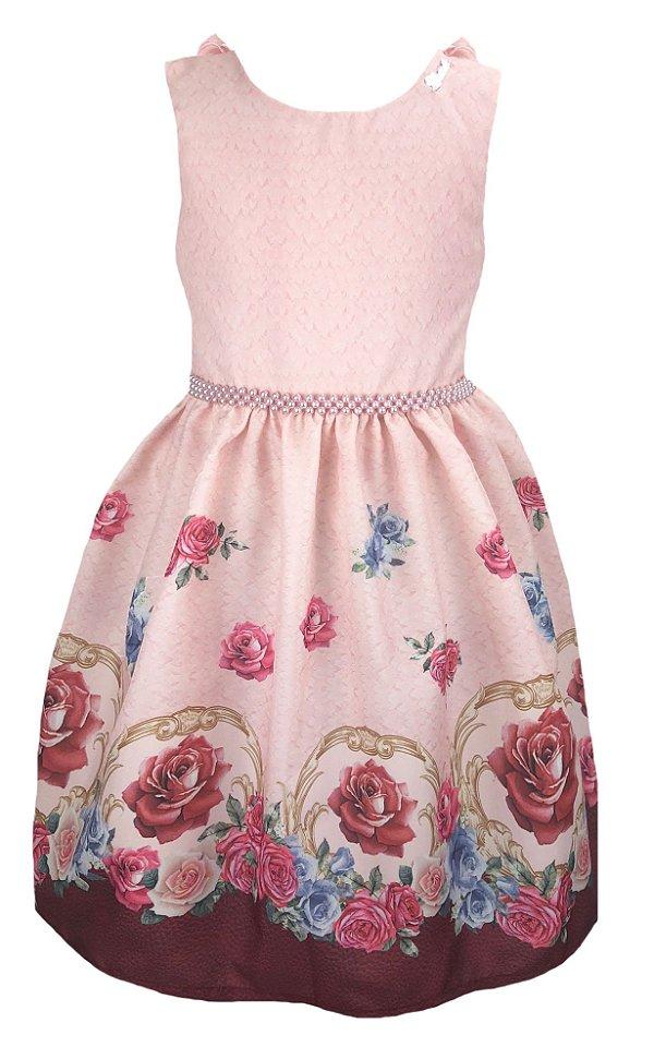 Vestido Infantil estampado rosa com barrado de rosas