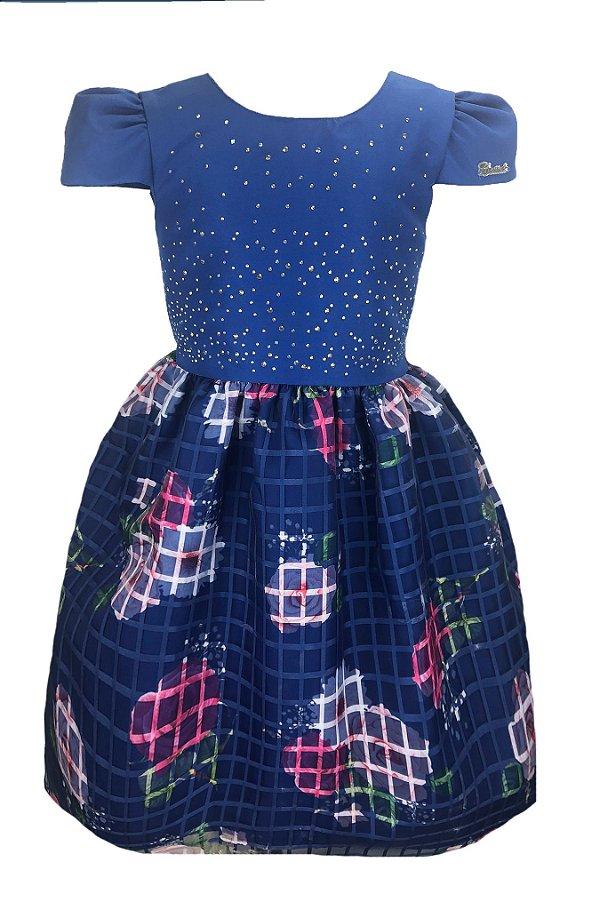 Vestido Infantil Azul com Saia Xadrez