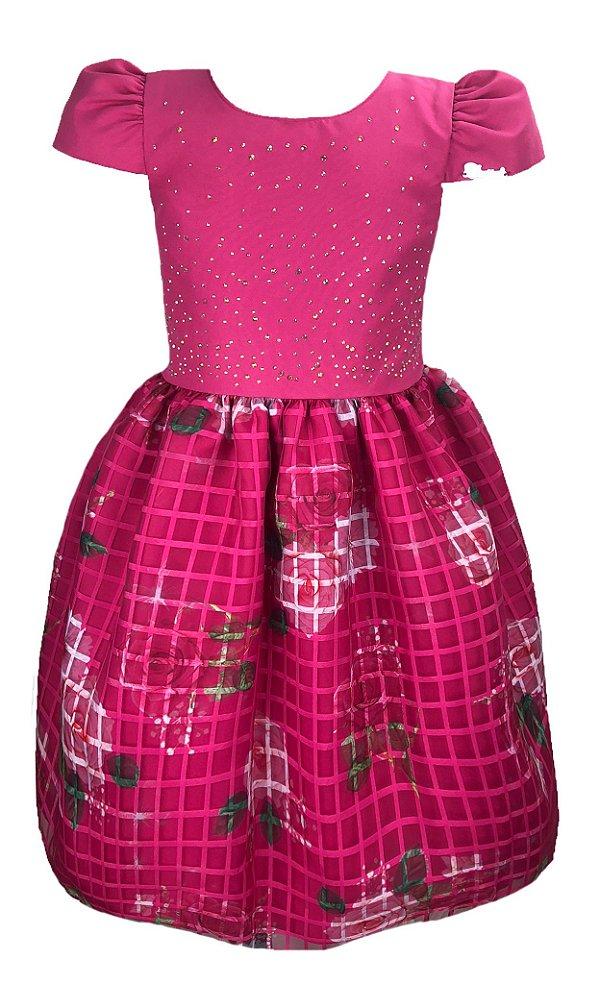 Vestido Infantil Rosa com Saia Xadrez