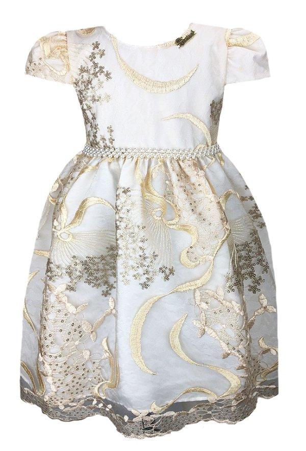 Vestido infantil de renda dourada