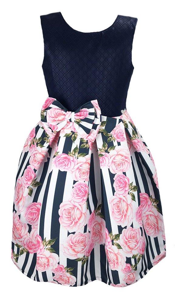 Vestido Infantil Casual Estampado Listra com Flores