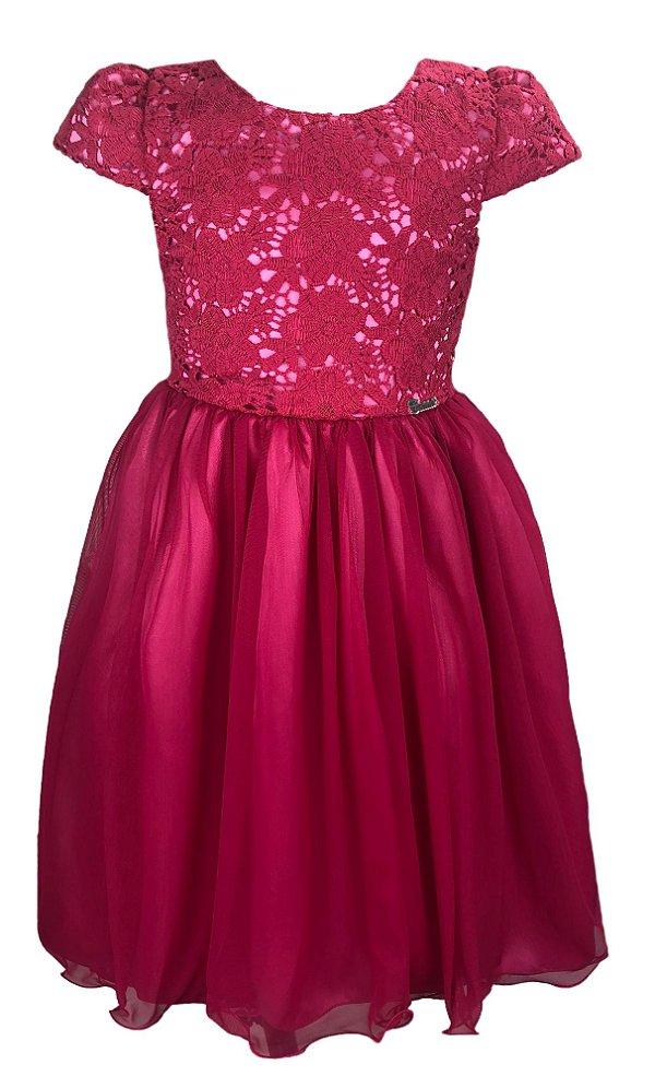 Vestido Pink com Peito de Renda
