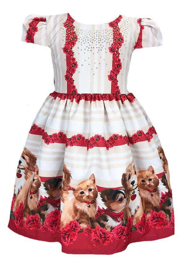 Vestido infantil com barrado de cachorrinhos