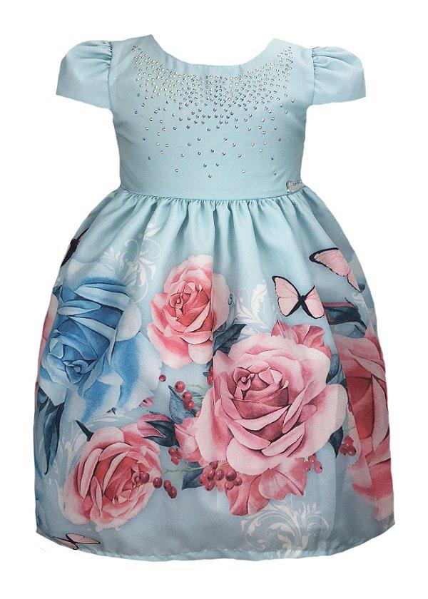Vestido infantil azul com saia com estampa de borboletas