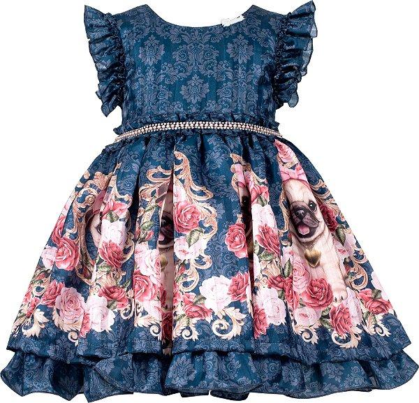 Vestido Infantil Azul com saia de cachorros