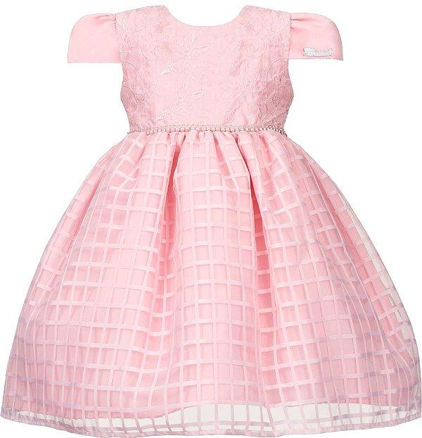 Vestido Infantil Chic com saia quadriculada