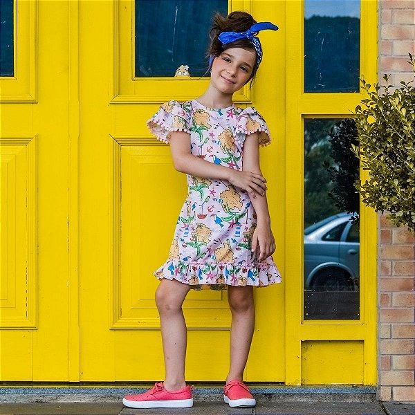 Vestido Juvenil com Estampa de Mapa