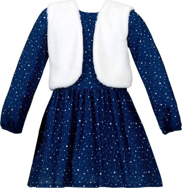 Vestido infantil azul com colete de pele