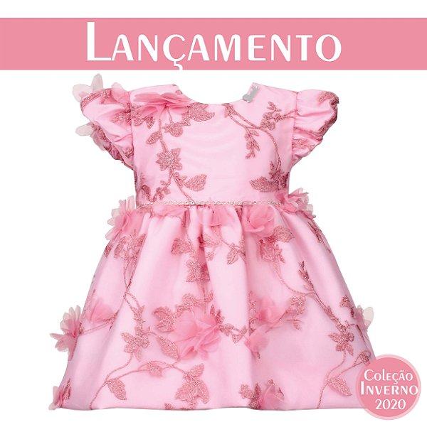 Vestido Bebê Chic de Tule Bordado