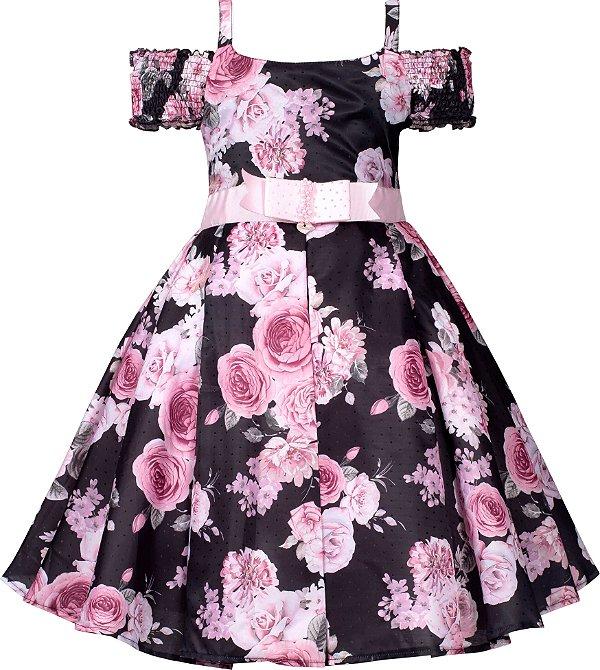 Vestido Teen Casual Preto com Estampa Floral