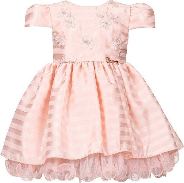 Vestido Bebê Casual Salmão c/ Bordado no Peito