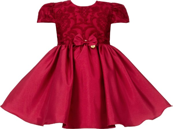 Vestido Bebê Vermelho com Peito Bordado