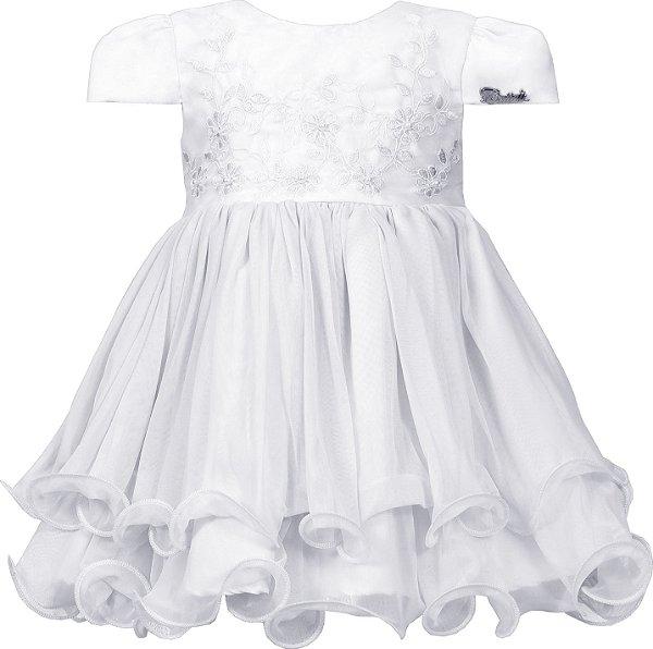 Vestido Bebê Branco com Bordado no Peito