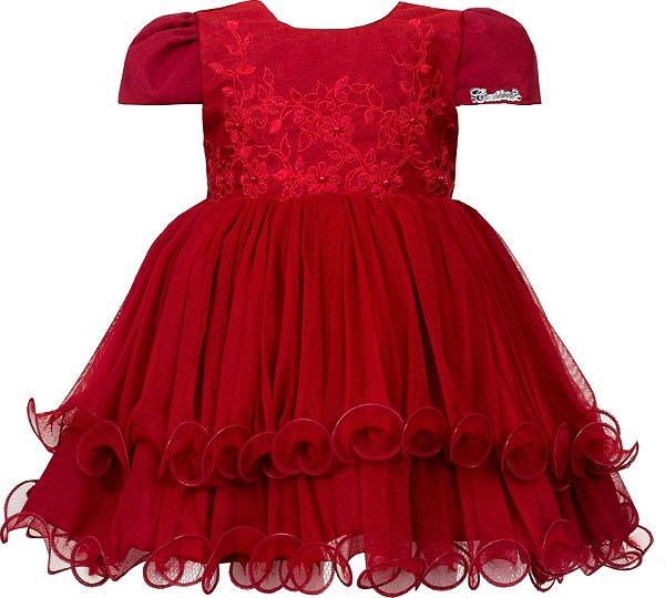 Vestido Bebê Vermelho com Bordado no Peito