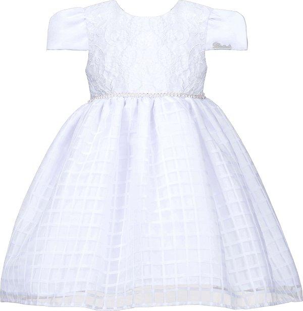 Vestido Infantil Chic Branco com saia quadriculada