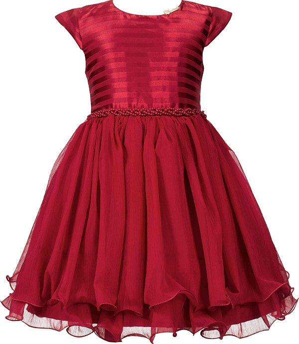 Vestido Teen Vermelho Chic Liso c/ Cinto de Perolas
