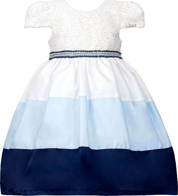 Vestido Infantil Casual com Saia Bicolor