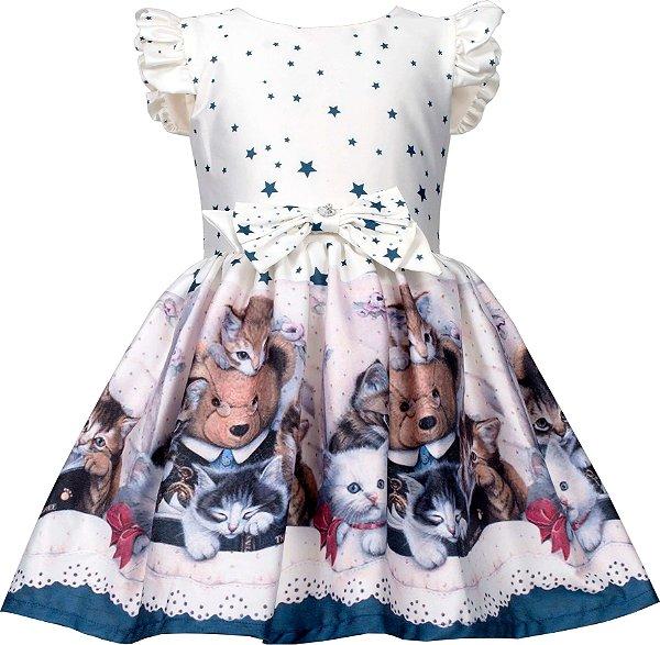 Vestido Infantil com Barrado de Urso