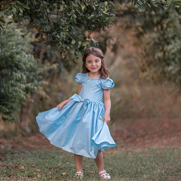 Vestido Juvenil com Gola de Pérolas