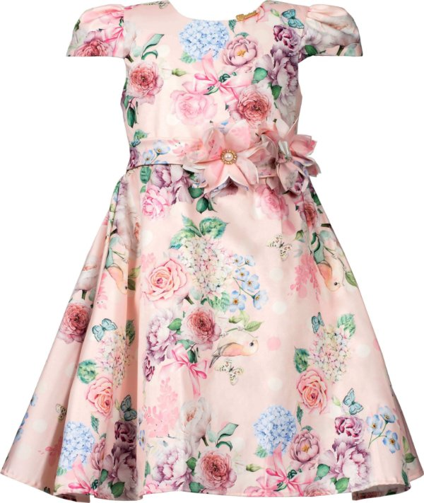 Vestido Juvenil Estampado com Broche de Flor
