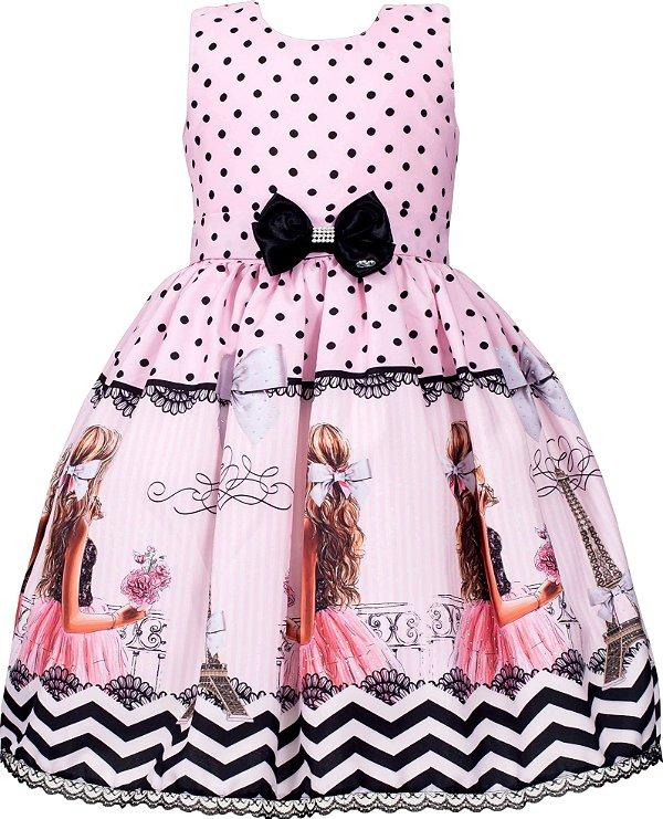 Vestido Juvenil Rosa com Bolinhas Pretas
