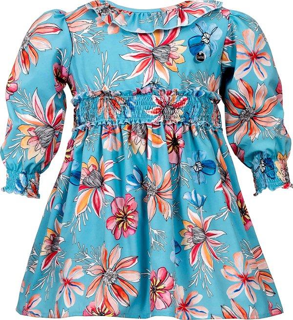 Vestido Juvenil Floral com Elástico na Cintura