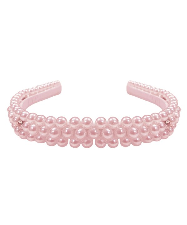 Tiara infantil de pérolas na cor rosa