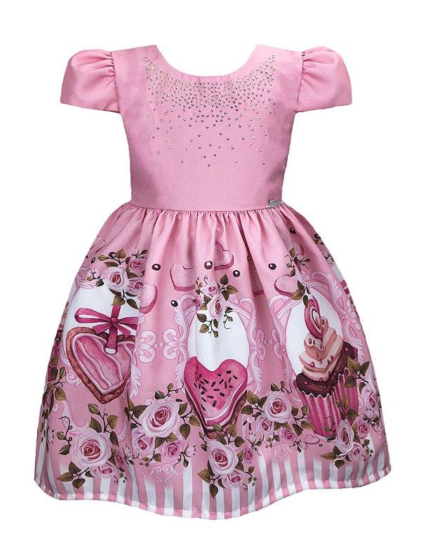 Vestido Infantil Flores e Doces