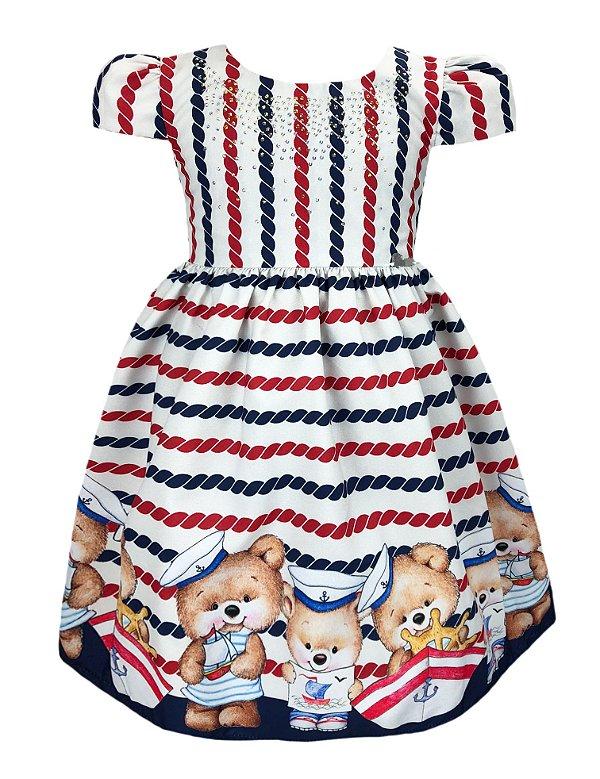Vestido Infantil Ursinho Marinheiro