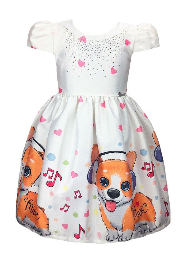 Vestido Infantil Cachorrinhos Musicais