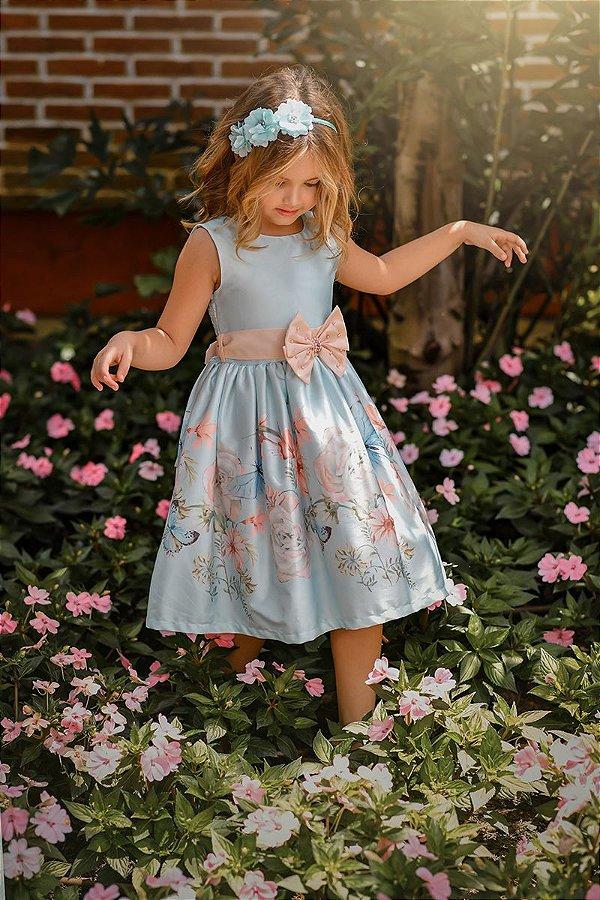 Vestido Juvenil Azul Barrado Floral com Laço
