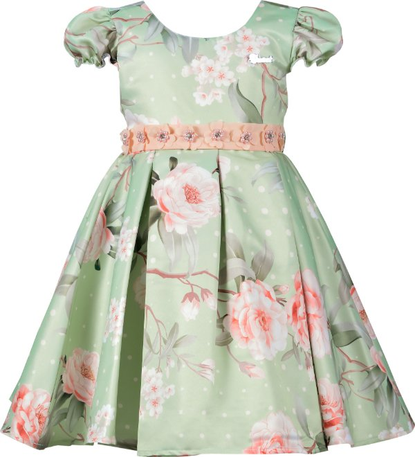 Vestido Infantil Floral com Aplicações de Flores no Cinto