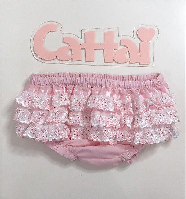 Calcinha de Bebê Rosa com babados