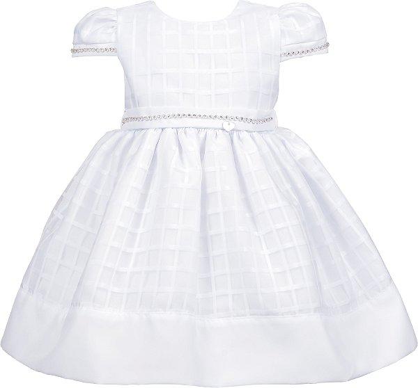 Vestido Bebê Batizado com Strass