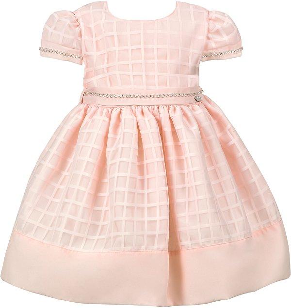 Vestido Bebê Salmão com Strass