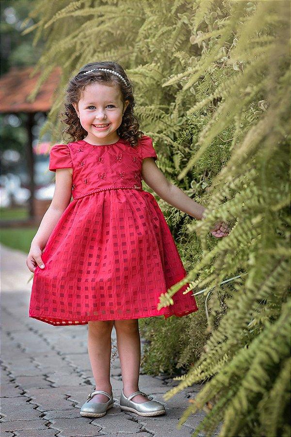 Vestido Infantil Vermelho Borboletas