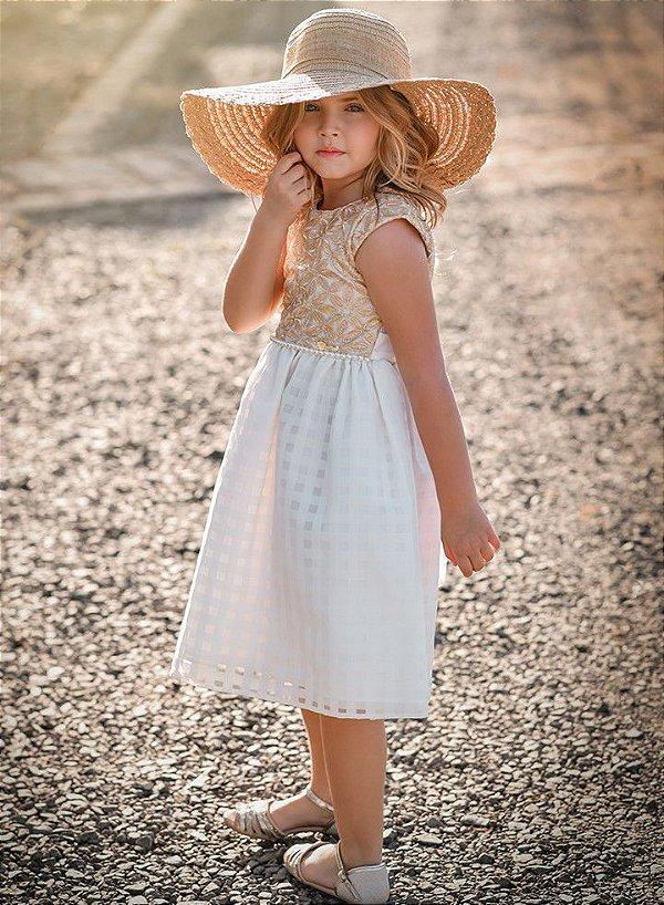 Vestido Juvenil Renda Dourada