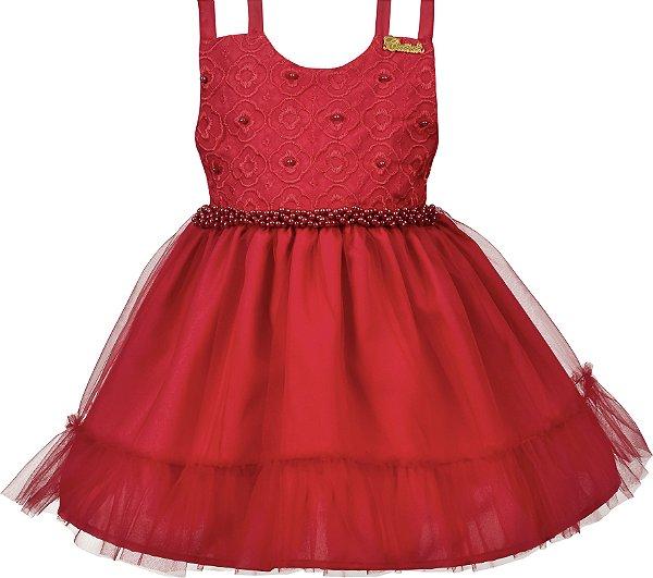 Vestido Bebê Vermelho com Pérolas