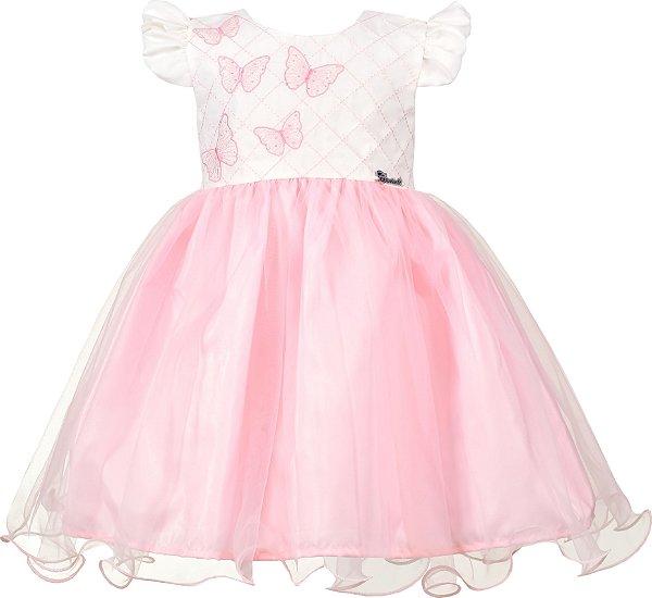 Vestido Infantil Rosa com Borboletas
