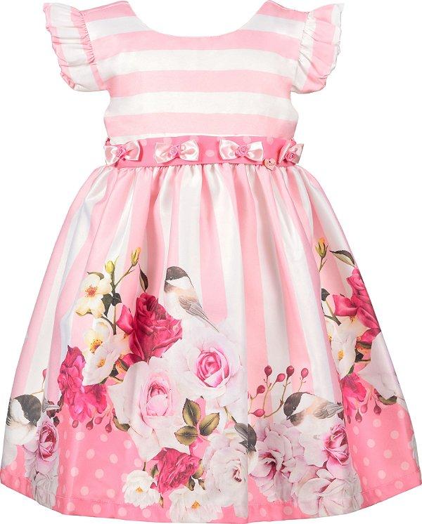 Vestido infantil com lacinhos no cinto