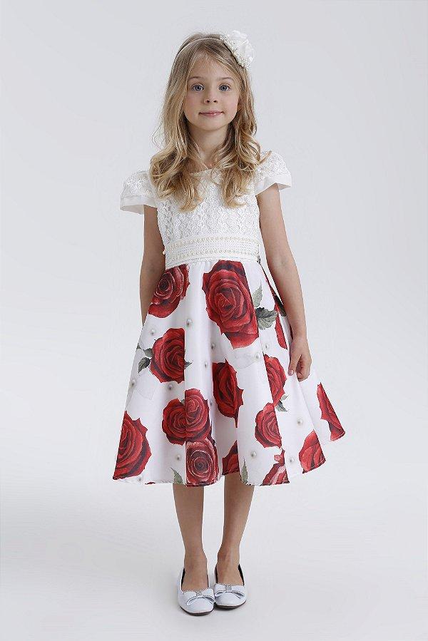 Vestido Juvenil com saia estampada