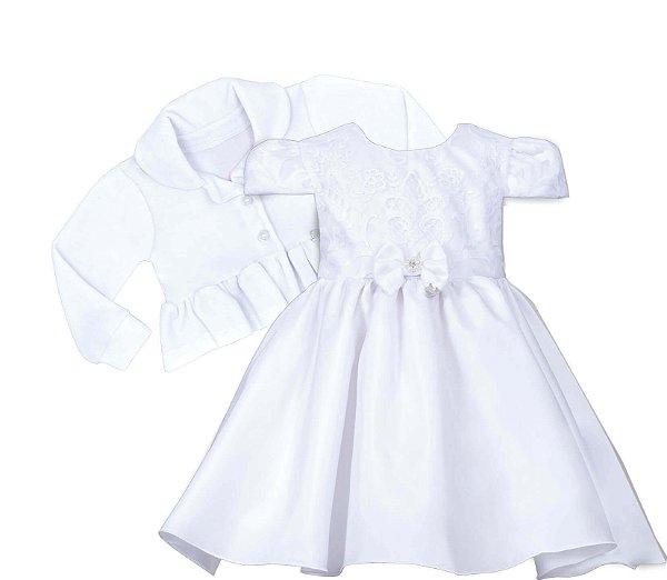 Vestido Bebê com casaco Branco com Peito Bordado