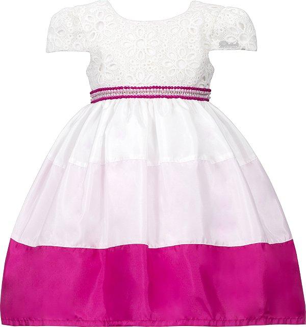 Vestido Infantil Casual com Saia Bicolor Rosa