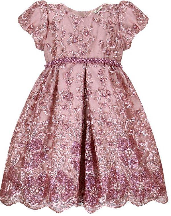 Vestido Chic de Renda e Paetê Rosê
