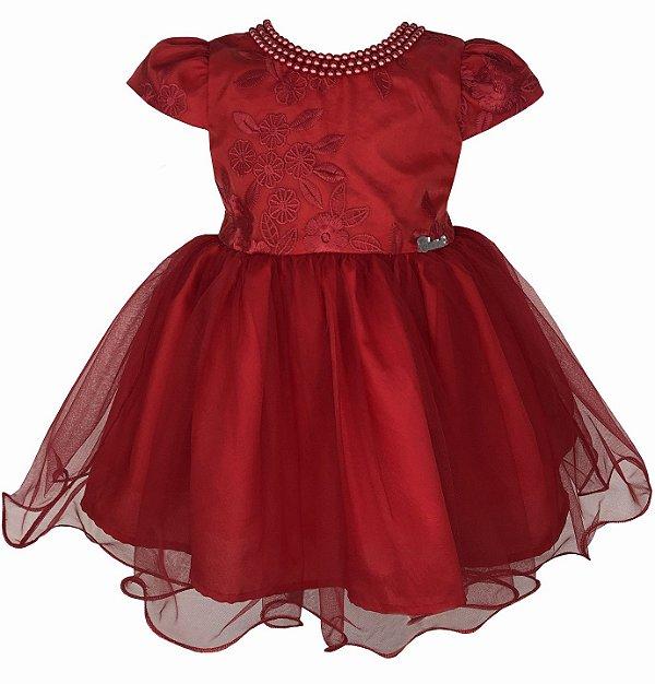 Vestido de Bebê Vermelho de Renda e Saia de Tule