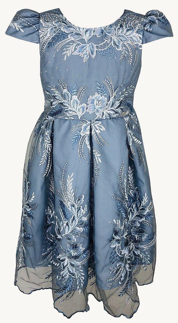 Vestido Juvenil Azul Renda e Saia de Pregas