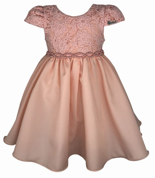 Vestido Infantil Salmão com Renda e Cinto de Pérolas