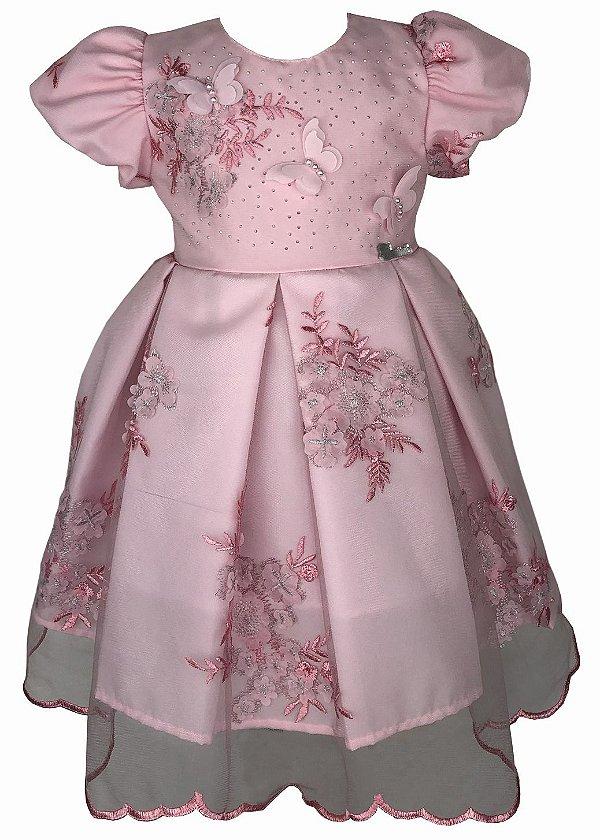 Vestido de Bebê Rosa de Renda com Borboletas