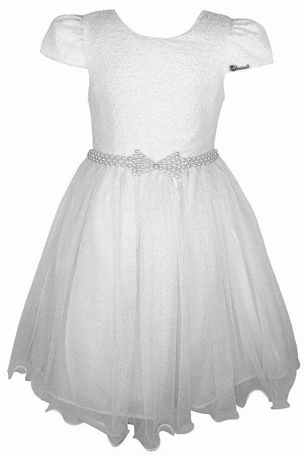 Vestido Juvenil Branco Saia de Tule com Brilho